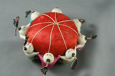 Vintage 50s  60s Silk Pin Cushion Japanese Asian Men Women Children Multicolor