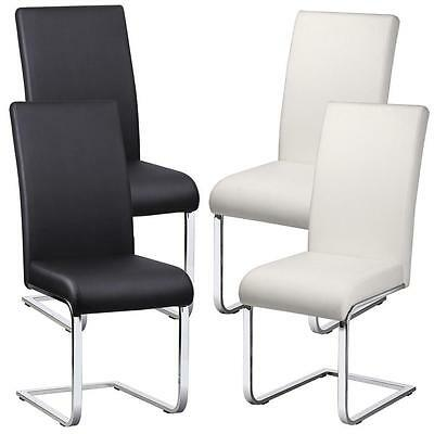 New 2PCS MODERN DESIGNER LEATHER CHROME DINING ROOM CHAIRS FURNITURE 2 COLOURS