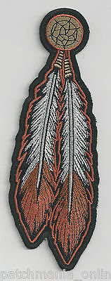 Tribal Feathers -  Brown/White - Iron On Patch