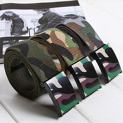 Fashion Men Women Automatic Square Buckle Waist Strap Army Sports Canvas Belts