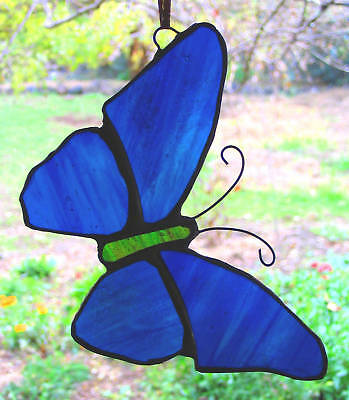 ULYSSUS BLUE STAINED GLASS BUTTERFLY suncatcher CUSTOM LEADLIGHTS in STORE Gift