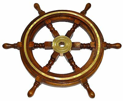 "Vintage Style 24"" Brass & Wood Ship Wheel Helm Nautical Bar Decor Steering Boat"