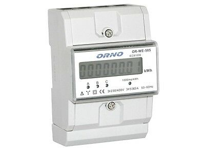 Digital Three-phase Meter Electricity Meter LCD 3x80A for DIN hat rail OR-WE 505