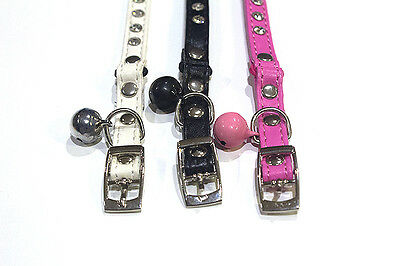 Glamorous Cat Collar - White Pink or Black Safety Joint & Bell Faux Leather gift