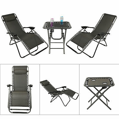 3 Piece Garden Furniture Set Outdoor Reclining Lounger Chairs & Folding Table
