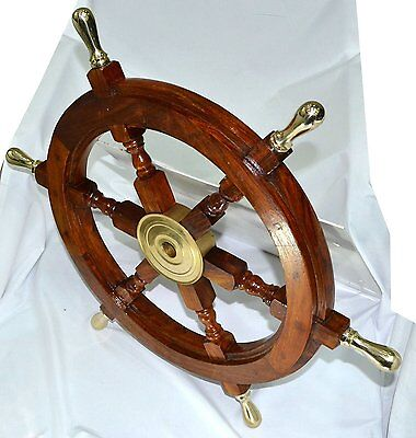 "Boat Ship Large Wooden Steering Wheel 24"" Nautical Wall Decor New"