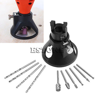 6 HSS Wood Milling Burrs +4 Drill Bit + Carving Rotary Locator Positioner