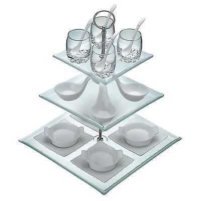 Kitchen Craft Glass and Porcelain 21 Piece Glass 3 Tier Appetiser Gift Set
