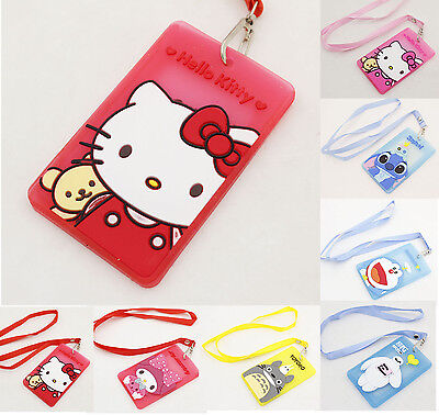 Cute Sweet Hello Kitty Lanyards Silicone Travel Credit ID Card Badge Tag Holder