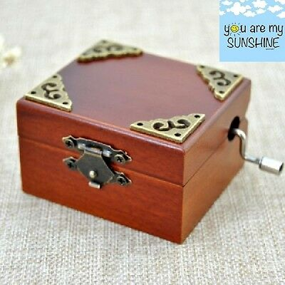 Vintage Square Hand Crank Music Box : YOU ARE MY SUNSHINE