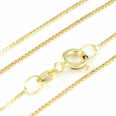 """16-24"""" 0.80mm 10k Yellow Gold Box Chain, (NEW solid Italian necklace) 2204"""