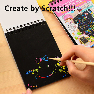 DIY Colorful Scratch Graffiti Book + Pen Creative Scrawl Kids Adults Xmas Gift