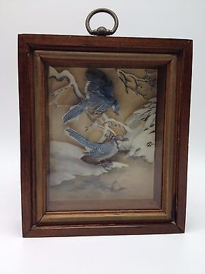 "Basil Ede Blue Jay shadowbox art print 6.5"" 3D winter snow picture Bird"