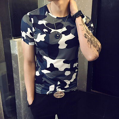 New Summer Men's Slim Short Sleeve O-Neck Camouflage Shirt Casual T-Shirts Tops