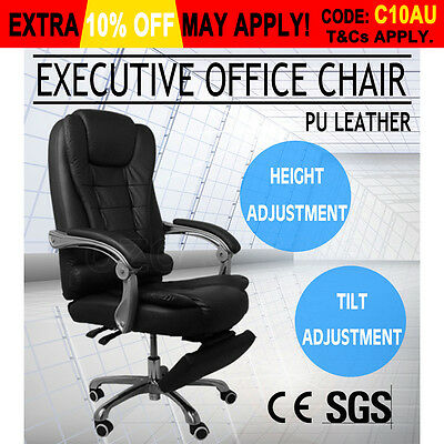 Executive Office Computer Chair Premium PU Leather Thick Padded Lumbar Black