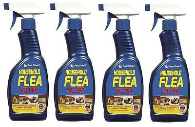 4x Flea Killing Spray For Cat Dog Bed Carpet Soft Furniture By PetsShield 500ml