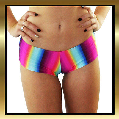Juicee Peach Rainbow Print Spandex Hotpants