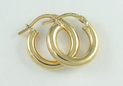 18k Yellow Gold 3mm Thick Hoop Earrings (new,2.00g)#2541