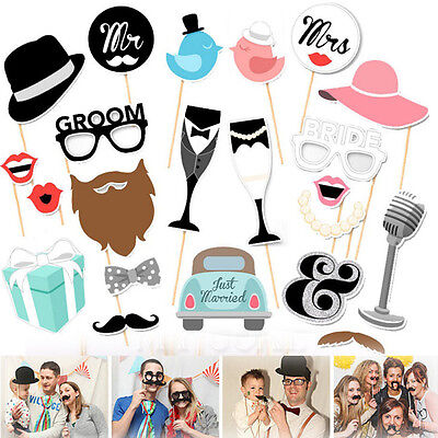 22pc Photo Booth Props Moustache Wedding Hen Do Party Stag Night Selfie Game Kit
