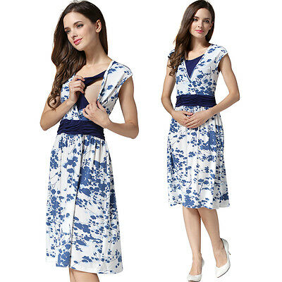Sale!! New Floral Maternity Breastfeeding Nursing Dress Size M L Xl  10 12 14