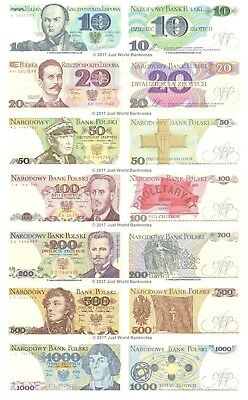 Poland 10 + 20 + 50 + 100 + 200 + 500 + 1000 Zlotych Set of 7 Mint UNC Banknotes