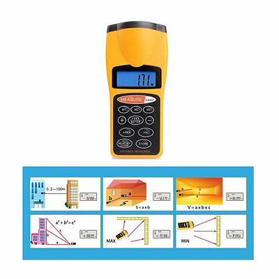 Ultrasonic Digital Laser Distance Meter Measure Tape Diastimeter Range Finder UK