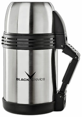 Thermoskanne Isolierflasche - BLACK CREVICE Camping&Outdoor - 1 Liter Edelstahl