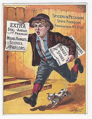 1800s Victorian Trade Card - Spicers & Peckham Model Ranges / Stoves Scarce