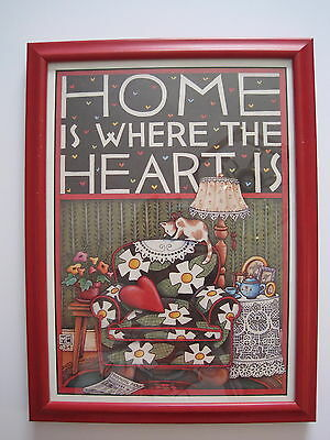 "Mary Engelbreit Picture Framed With Glass 9"" X 12"" Home Is Where The Heart Is"
