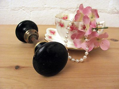 Striking Antique French Black Enamel Door Knobs