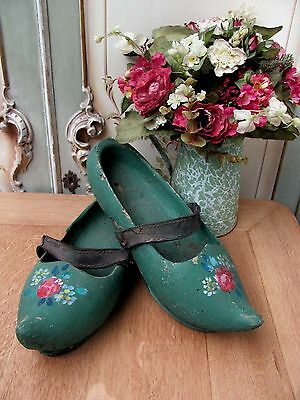 Striking Pair Of Vintage French Rose Painted Clogs