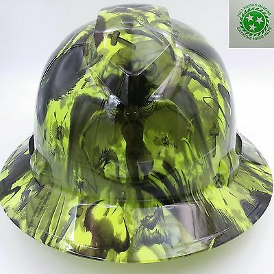 Hard Hat FULL BRIM custom hydro dipped , OSHA approved DEMON HUNTER , NEW!!