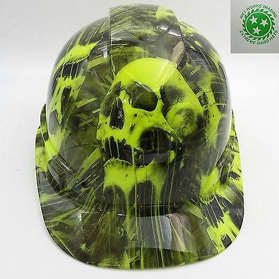 Hard Hat CAP STYLE  custom hydro dipped , OSHA approved MELTING SKULLS NEW