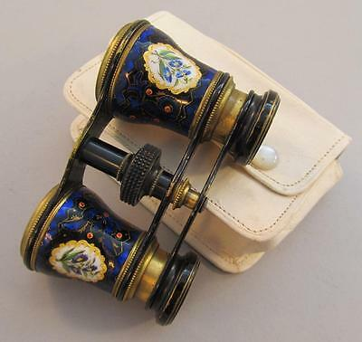 Vintage Enameled Opera Glasses Lorgnettes w White Leather Case