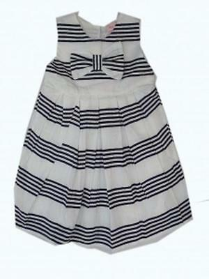 BNWT Girls Mini Moi Navy & White Stripe Dress Fully Lined - Age 2 - 3 Years Only