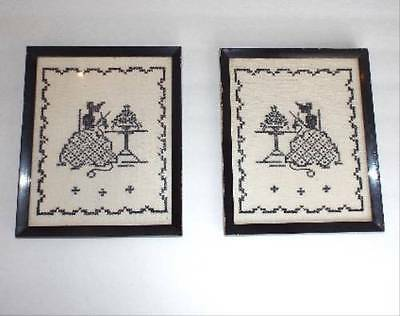"""Vintage Pair of Hand Embroidered """"KNITTING LADIES"""" Silhouette Style Glass Frames"""