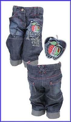 Bnwt Girls Denim Cropped Jeans With Apple Applique Detail  Age 3 - 4 Years Only