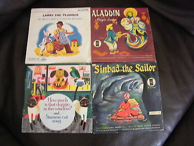 Lot Of Vintage Childrens Records 7'' Aladdin, Larry The Plumber Etc Collectable