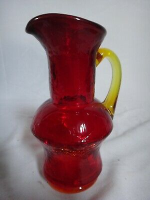 Vintage Blenko Glass Cream Syrup Pitcher Red Orange Yellow Handle Crackle Cruet