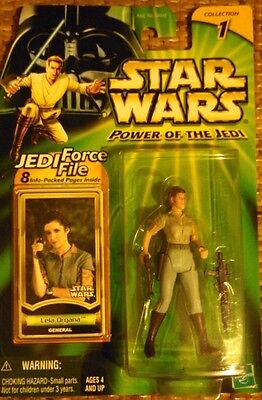 Star Wars Power Of The Jedi Leia Organa Mint on Card with Jedi Force File