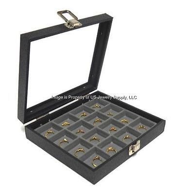 1 Glass Top Lid 16 Space Grey Jewelry Collectibles Display Case Charms Pins