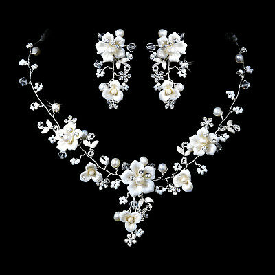 Necklace Earring set #5014 Silver Crystal, Porcelain & Pearl Bridal Jewelry