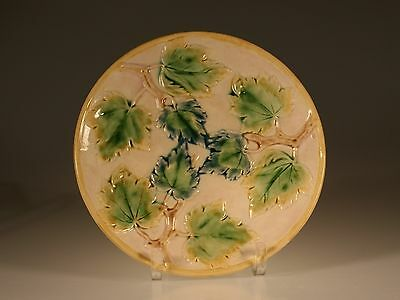 Etruscan Majolica Maple Ivy Round Pedestal Cake Stand c 1880's