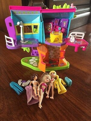 Polly Pocket Magnetic Vintage Tree House With Dolls And Magnetic Accessories