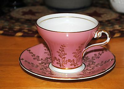 Aynsley Corset Teacup Saucer Rose Gold Gild Retro Vintage Beautiful!