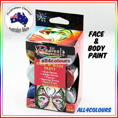 Australian Non-Toxic Glitter Face Painting Kit 6 Colours Pack Radical Paint 40ml