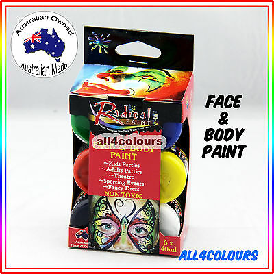 Australian Non-Toxic Face Painting Kit 6 Colours Pack Radical Paint 40ml