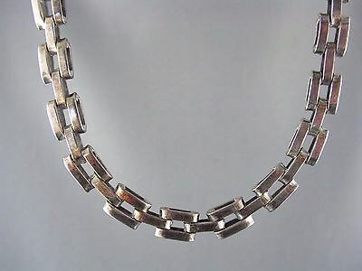 STATEMENT! Heavy Gate Link Vintage MEXICO Sterling Collar Necklace 47g