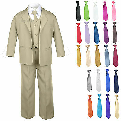 Baby Toddler Formal Wedding Tuxedo Boy Suit Khaki + Tie 6PC Set 14 Color sz S-4T