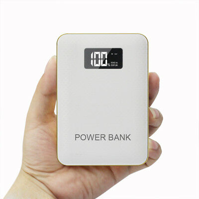 50000mah Power Bank 3 USB LCD 2 LED Battery Charger For Universal Phone White